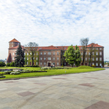 Wawel Castle on Sunny Day with Blue Sky and White Clouds Photographic Print by Jorg Hackemann