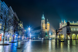 Poland, Krakow. Market Square at Night. Photographic Print by  bloodua