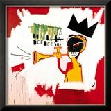 Trompet, 1984 Ingelijste gicléedruk van Jean-Michel Basquiat