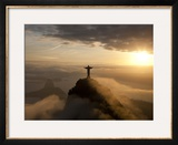 Statue of Jesus, known as Cristo Redentor (Christ the Redeemer), on Corcovado Mountain in Rio De Ja Framed Photographic Print by Peter Adams