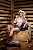 Young, Happy and Sexy Cowgirl in Western Style Fotografisk trykk av  shmeljov