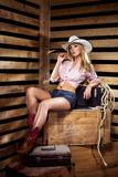 Young, Happy and Sexy Cowgirl in Western Style Photographic Print by  shmeljov