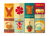 Retro Hawaii Posters Collection Kunst af  elfivetrov