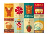 Retro Hawaii Posters Collection Taide tekijänä  elfivetrov