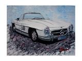 The White Mercedes SL 300 1957 Affiches par Martina Bleichner