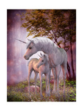 Unicorn Mare and Foal Print by Corey Ford