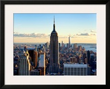 Downtown at Sunset, Empire State Building and One World Trade Center (1WTC), Manhattan, New York Framed Photographic Print by Philippe Hugonnard