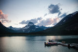 A Lake with a Dock and Kayaks at Dusk in a National Park. Photographic Print by Michael Hanson