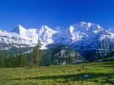 The Eiger, Jungfrau,And Monch Mountains Reproduction photographique par Brian Lawrence