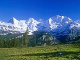 The Eiger, Jungfrau,And Monch Mountains Premium fotografisk trykk av Brian Lawrence