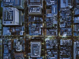 Ariel View of Ginza, Tokyo at Night. Photographic Print by Michael H