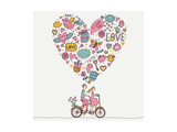 Romantic Concept. Couple in Love on Tandem Bicycle. Cute Cartoon Vector Illustration Art by  smilewithjul