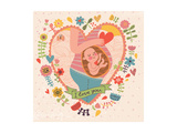 Pregnancy Concept Card in Cartoon Style. Baby and Mother in Love inside Hearts and Flowers Láminas por  smilewithjul