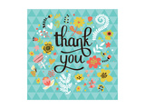 Thank You! Bright Cartoon Card Made of Flowers and Butterflies. Floral Background in Summer Colors Prints by  smilewithjul