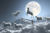 Sheep Jumping over Fence in a Cloudy Moon Scene Fotografisk tryk af Dieter Spannknebel