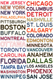 National Hockey League Cities on White Print