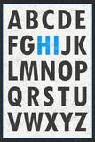 Hi Alphabet Blue Plakat