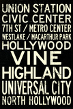 Los Angeles Metro Rail Stations Travel Poster Poster