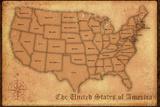 United States Vintage Style Map Plakat