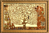 Gustav Klimt Tree of Life with Gilded Faux Frame Border Poster