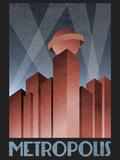 Metropolis Retro Travel Poster Lámina