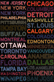 National Hockey League Cities Colorful Poster