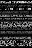 Gettysburg Address (Black) Text Poster