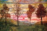 Quatre arbres Poster par Egon Schiele