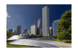 View of Skycrapers from Millenium Park (Chicago Architecture, Urban Park) Fotografisk tryk af Henri Silberman
