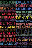 National Basketball Association Cities Colorful Kunstdrucke