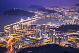 Busan, South Korea Aerial View at Night. Photographic Print by  SeanPavonePhoto
