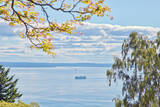 View of Ferry on Puget Sound Photographic Print by Mel Curtis