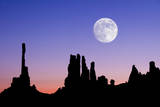 Dawn Silhouette of the Totem and Yei Bi Chi Formations with Large Full Moon in Monument Valley, Ari Photographic Print by Russell Burden