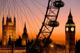 England, London, Westminster, London Eye and Big Ben at Dusk Photographic Print by Scott E Barbour
