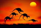 KANGAROOS IN MIDAIR AT SUNSET Fotografisk tryk af Mitchell Funk