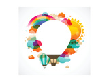 Hot Air Balloon, Colorful Abstract Vector Background Kunst af  Marish