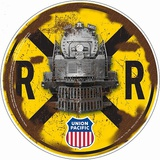 Union Pacific Crossing Round Tin Sign