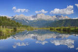 Rosengarten Mountains Reflecting in Small Lake. Photographic Print by Martin Ruegner