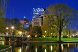 Lagoon Bridge and Skyline of Boston, Massachusetts from the Boston Public Gardens. Photographic Print by  SeanPavonePhoto