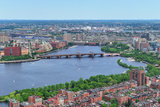 Boston Charles River Aerial View with Buildings and Bridge. Reproduction photographique par Songquan Deng