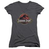 Juniors: Jurassic Park - Stone Logo V-Neck Damen-T-Shirts mit V-Ausschnitt