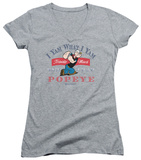 Juniors: Popeye - I Yam What I Yam V-Neck Womens V-Necks