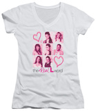Juniors: The Real L Word - Hearts V-Neck Womens V-Necks