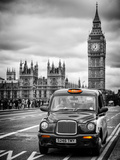 London Taxi and Big Ben - London - UK - England - United Kingdom - Europe Fotografisk tryk af Philippe Hugonnard
