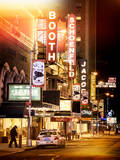 Instants of NY Series - The Booth Theatre at Broadway - Urban Street Scene by Night with a NYPD Reproduction photographique par Philippe Hugonnard