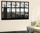 Wall Mural - Window View - Cityscape of Manhattan with the Empire State Building and 1 WTC - NYC Poster géant par Philippe Hugonnard