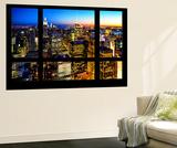 Wall Mural - Window View - Manhattan Skyline at Night - New York City Seinämaalaus tekijänä Philippe Hugonnard
