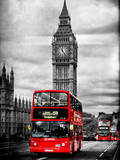 London Red Bus and Big Ben - City of London - UK - England - United Kingdom - Europe Lámina fotográfica por Philippe Hugonnard