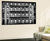 Wall Mural - New York Facade of Building with Fire Escapes - USA Poster géant par Philippe Hugonnard