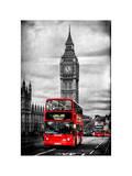 London Red Bus and Big Ben - City of London - UK - England - United Kingdom - Europe Impressão fotográfica por Philippe Hugonnard